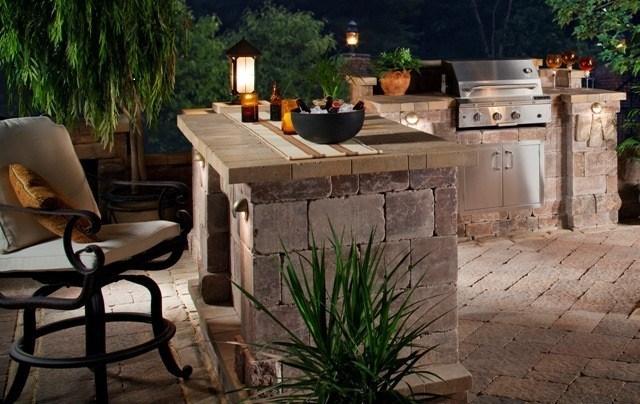 cocina piedra jardín bonita noche
