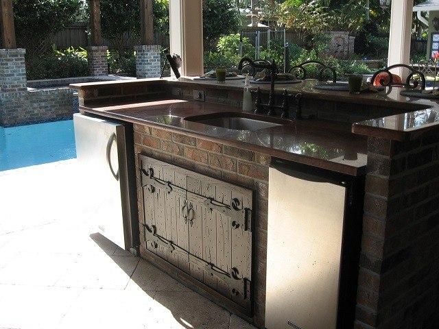 cocina piscina patio bonita oscura