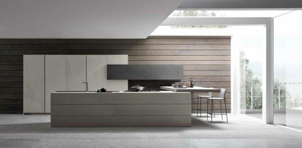 cocina recta minimalista gris industrial