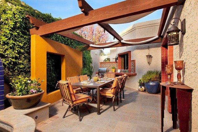 cocina rustica tradicional jardín azulejos