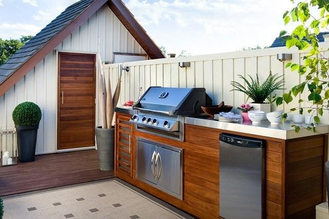 cocina terraza patio pequeña blanca