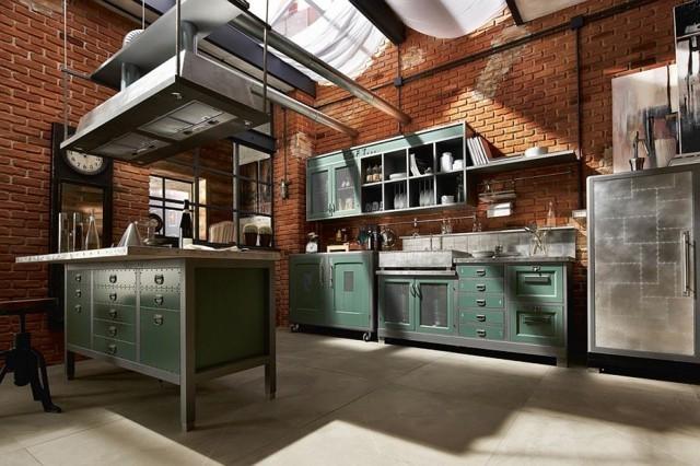 cocina vintage combinación ladrillo metal