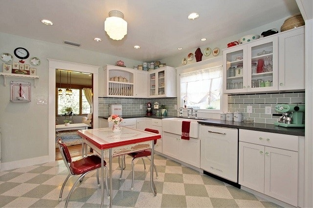 cocina amplia moderna estilo vintage