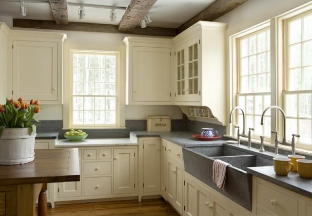 cocina vintage gris bonita maceta retro muebles blancos