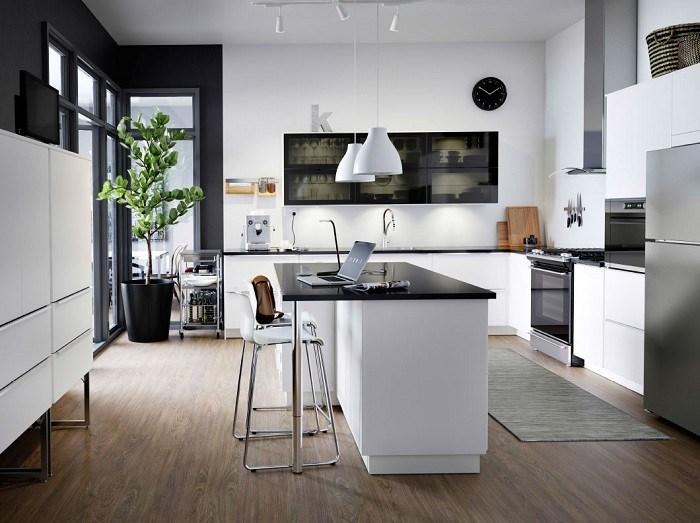cocinas blanco negro sillas bara idea buena suelo oscuro
