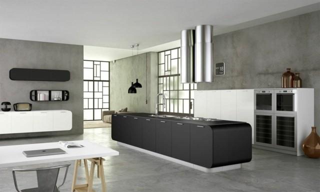 cocinas contemporaneas moderna blanco negro espaciosa