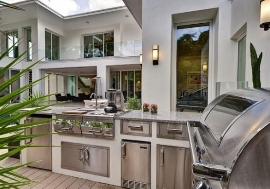 cocinas de diseño exterior plantas jardin luminarias