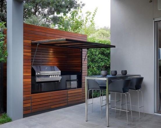 cocinas de diseño madera plantas sillas jardin
