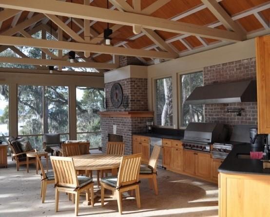 cocinas de diseño madera techo exterior sillas