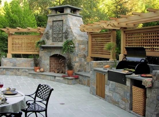 cocinas de diseño sillas metalicas barbacoa madera
