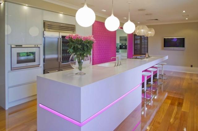 cocinas isla combinacion colores rosa bonito moderna