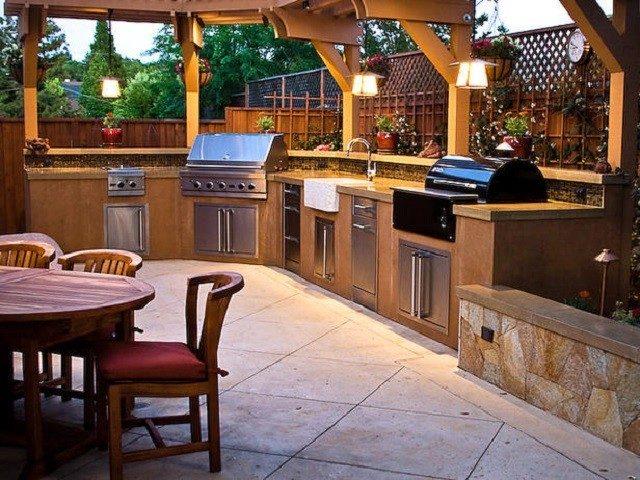 cocinas modernas espaciosa madera farol aire libre