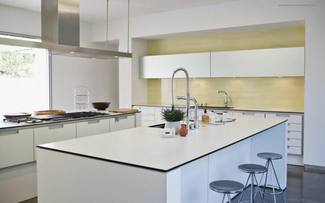 cocinas modernas blanco amplia luminosa sillas