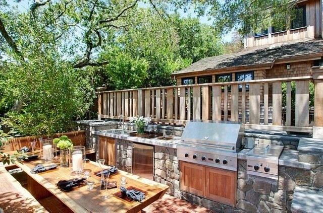cocinas modernas mesa madera parilla acero