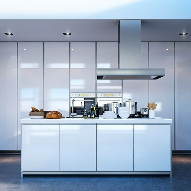 cocinas muebles blancos islas espaciosa amplia
