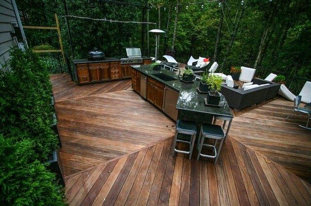 cocinas tres areas espaciosa abierta suelo madera