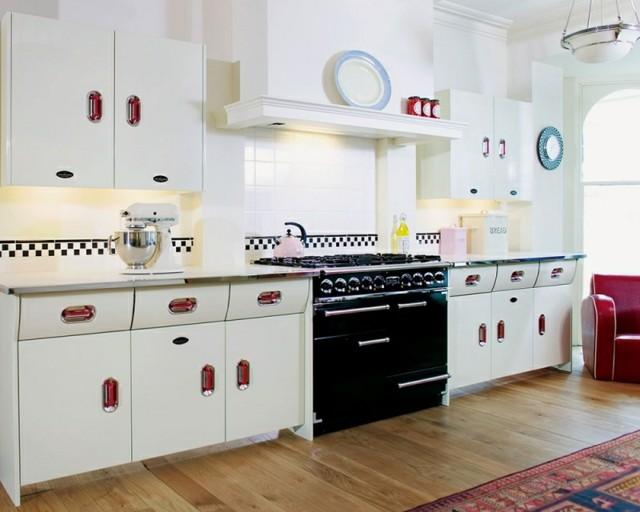 cocinas vintage retro colores blanco negro rojo