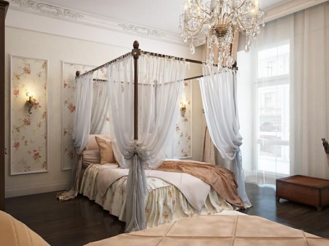 colores crema cama dosel bonita moderna estilo