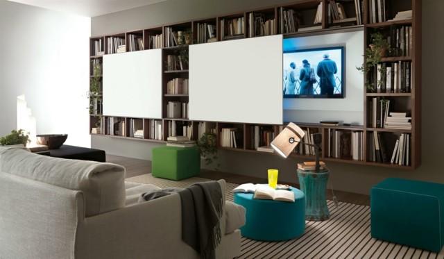 salón moderno colores frescos salon estanterias libros mezcla azul idea verde
