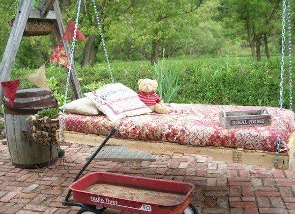 columpio jardin mueble palet cama
