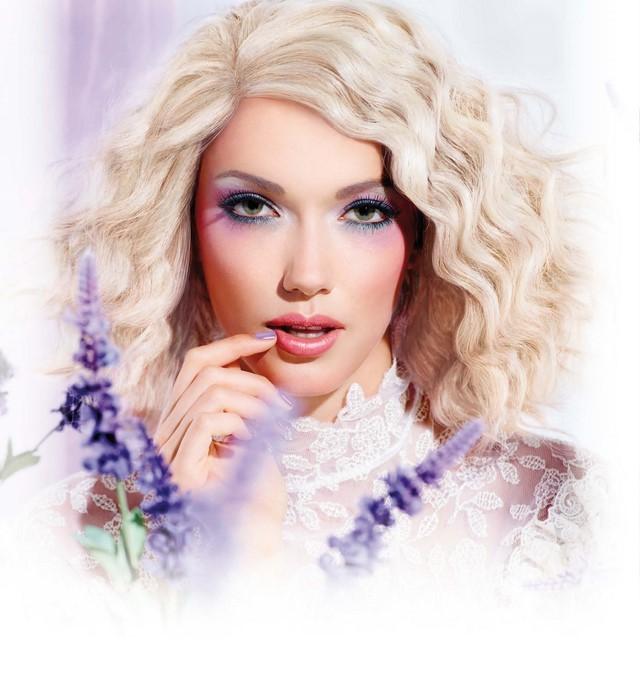 cómo  maquillarse purpura azul rosa sombras bonito