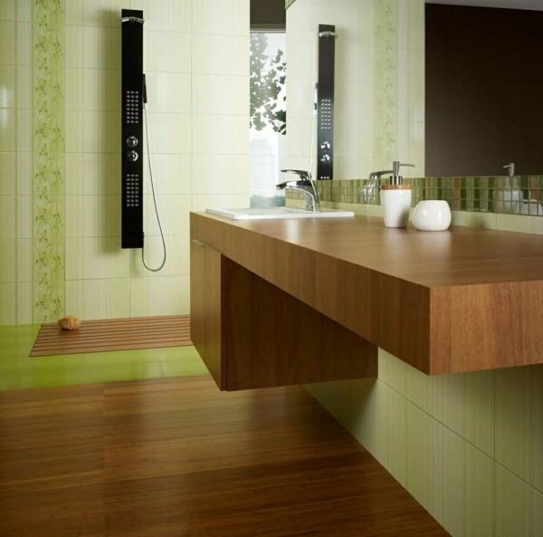 combinación baldosas parquet verde baño