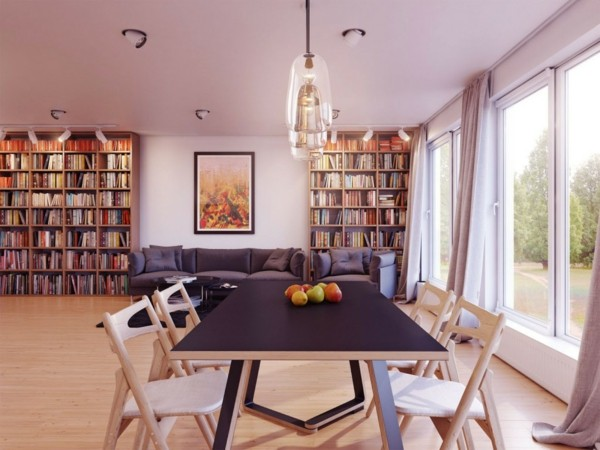 Comedores modernos para las cenas con mucha clase for Mesa biblioteca