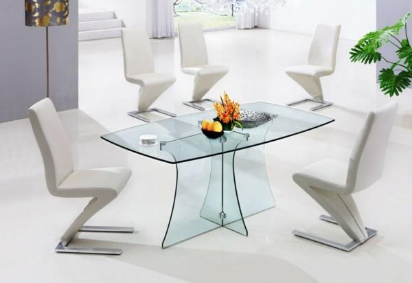 Comedores modernos para las cenas con mucha clase - Mesa cristal blanco ...