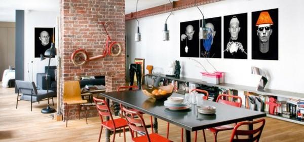 comedor estiloso pared ladrillos moderno