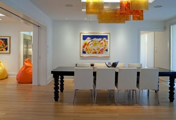 comedor minimalista moderno salón naranja
