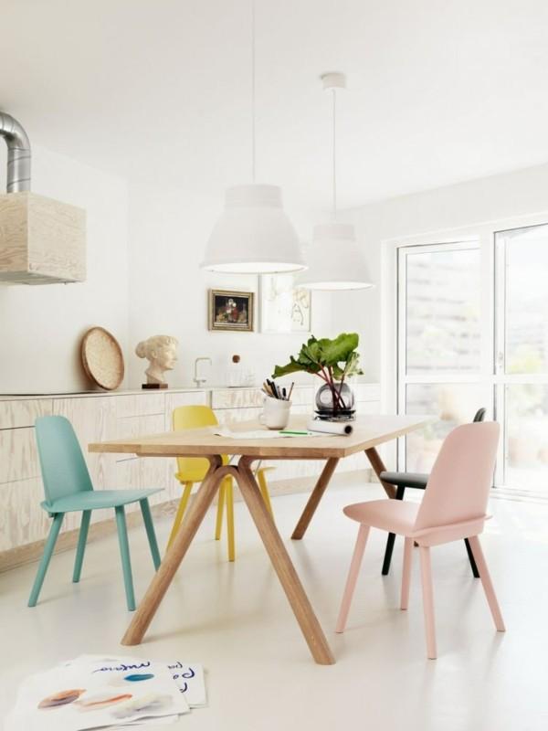 comedor minimalista sillas colores claros