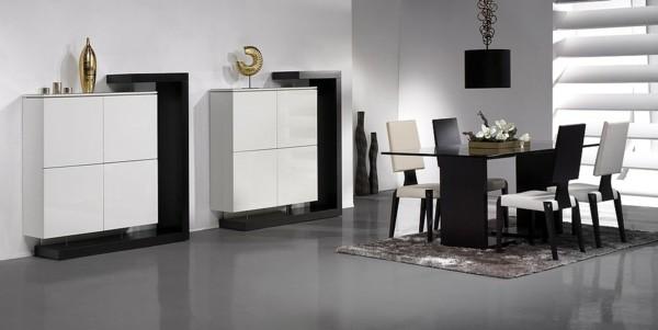comedor moderno blanco negro minimalista