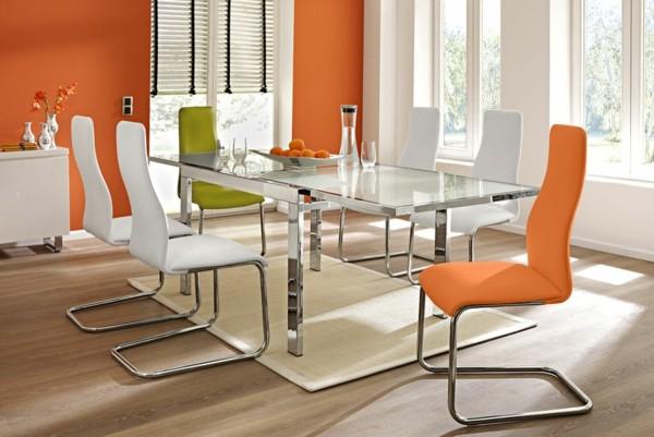 comedor moderno naranja salón blanco