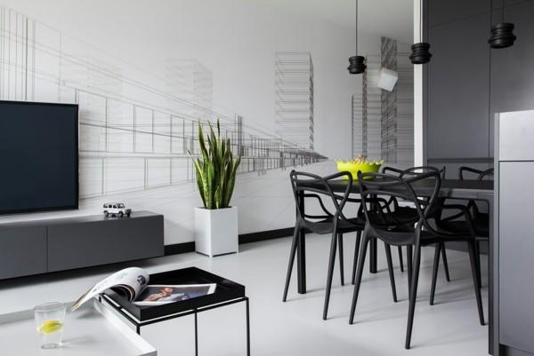 comedor muebles conjunto negro sillas