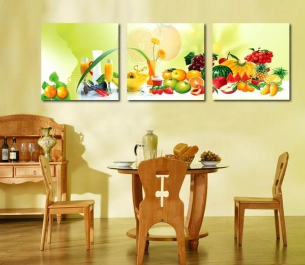 comedor salón cuadros frutas madera