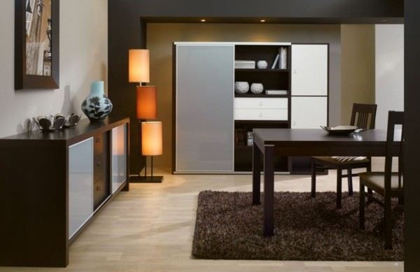 comedor salón marrón minimalista moderno