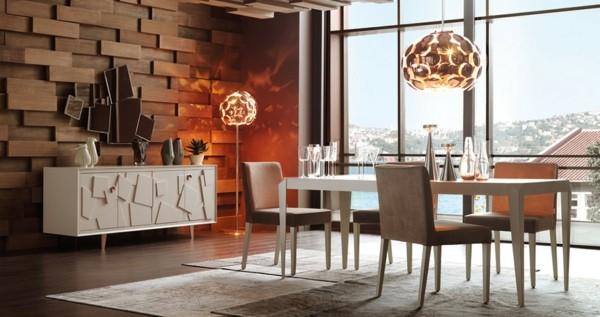 comedor salón pared madera paneles