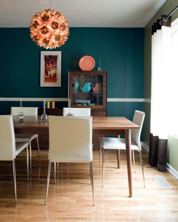 comedores modernos pared verde azulada