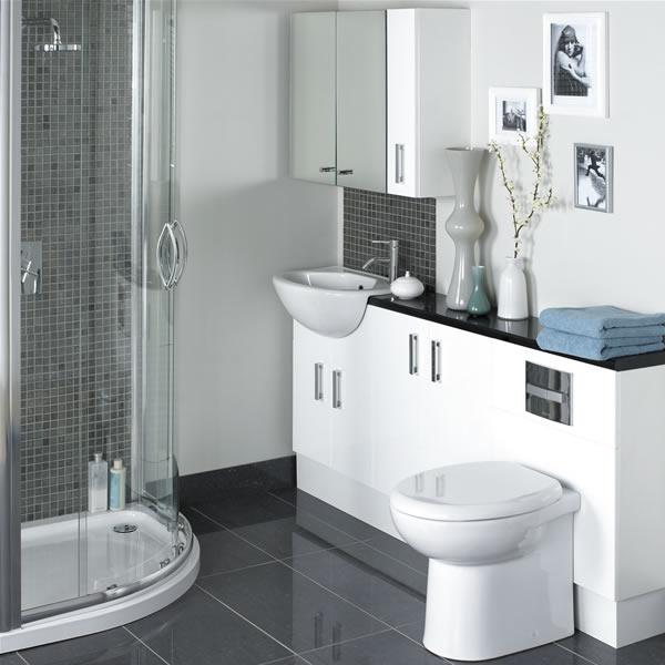 cuartos de baño pequeños compacto blanco baño limpio bonito