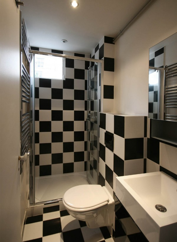 cuartos de baño pequeños compacto color blanco negro baldosas baño moderno