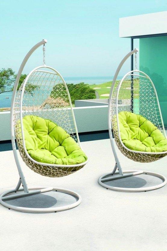 conjunto colgante silla metalicas solidas cojin
