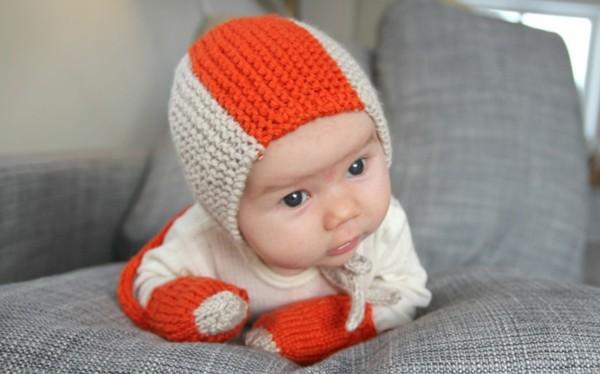 conjunto gorro guantes diadema naranja