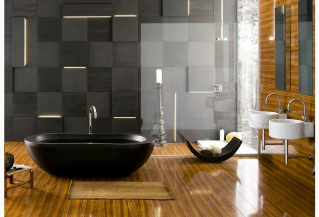 contemporanea idea moderno bañera pared negro gris