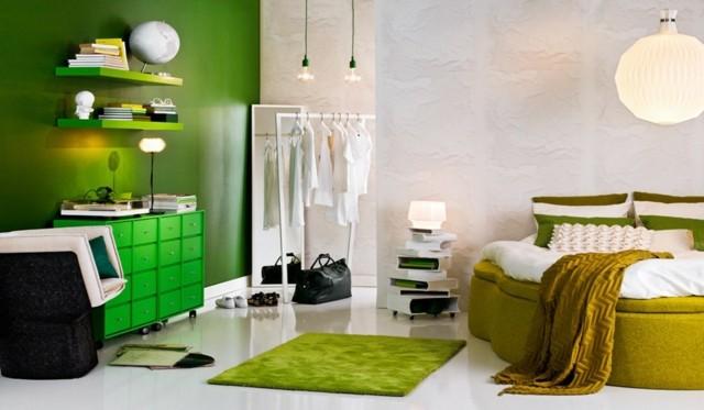 contraste verde lamparas diseño calido