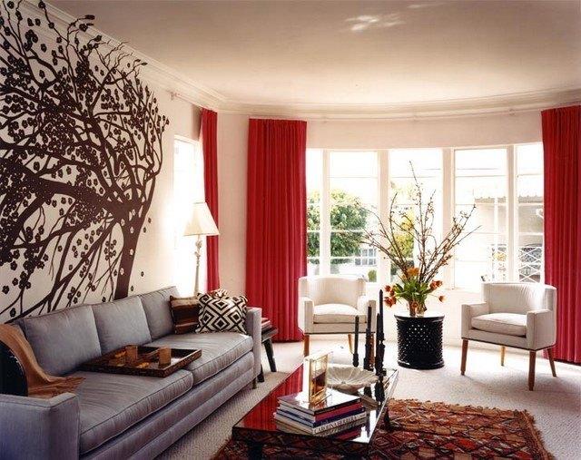 cortinas para salón color rojo llamativo ventanales