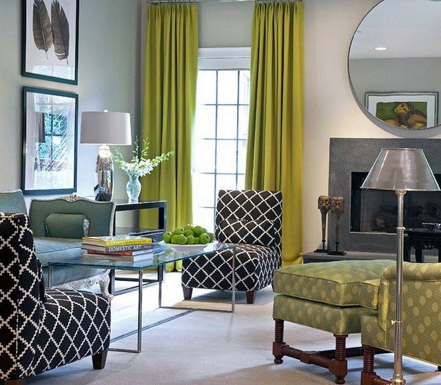 cortinas verdes diseo salon gris modernas