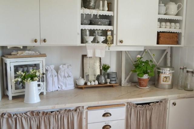 cortinitas armarios idea genial retro cocina blanca