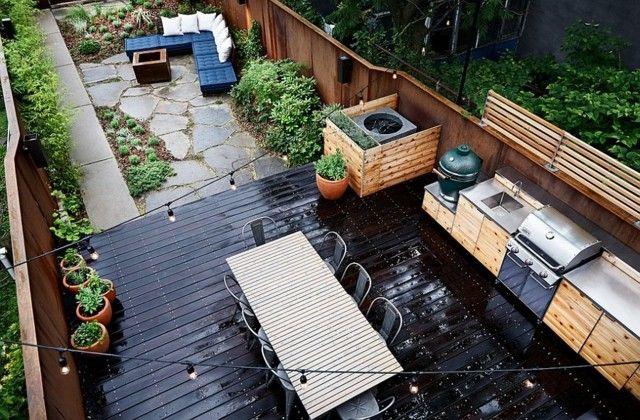 cocinas modernas suelo negro acero dos espacios jardin