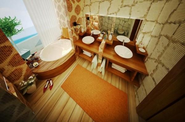 cuarto baño decoración madera