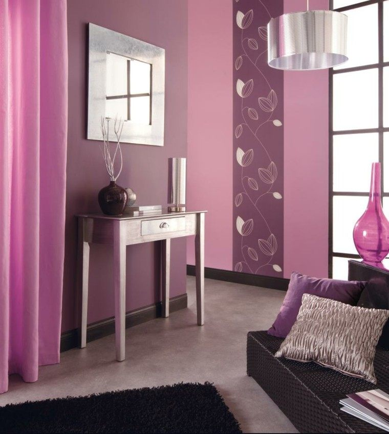 cuarto decoración rosa morado alfombra